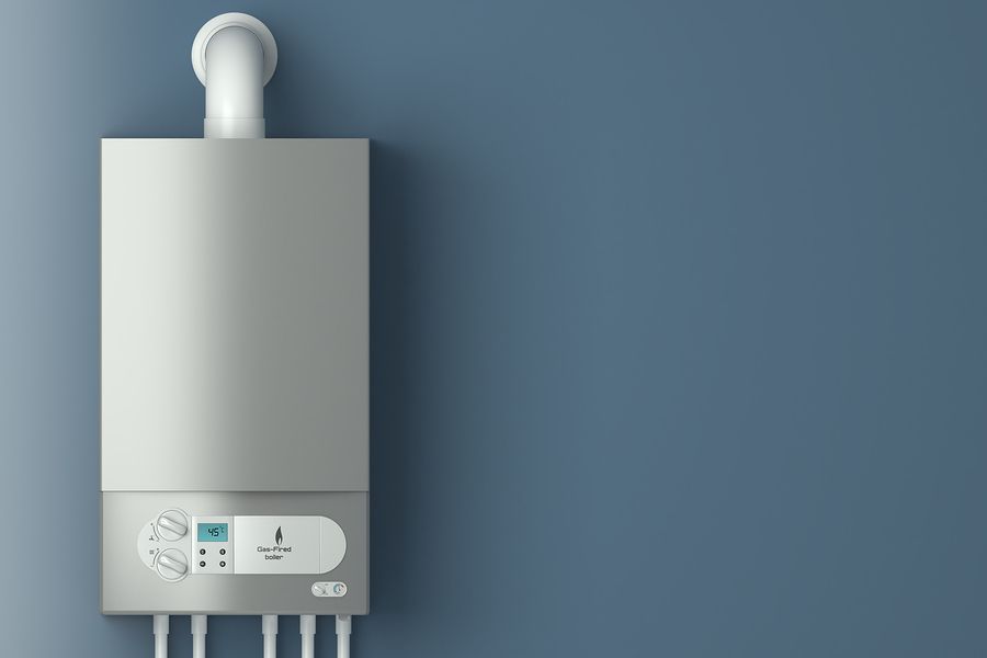 Home gas-fired boiler. The installation of gas equipment. Heatin